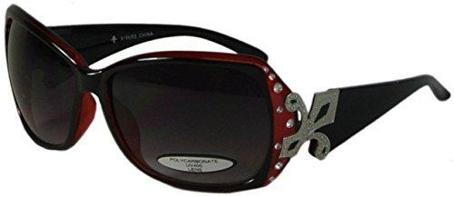 Bling Oversize Sunglasses with Fleur de Lis UV400 Polycarbonate Lens - Fleur Sunglasses
