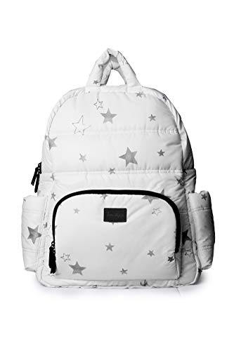 7 A.M. Voyage Collection BK718 Backpack with Laptop Sleeve (Print White Stars)