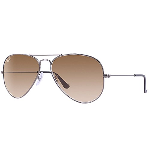 Ray-Ban 0RB3025 Aviator Metal Non-Polarized Sunglasses, Gunmetal/ Crystal Brown Gradient, 58mm