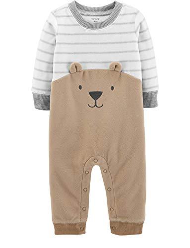 (Carter's Baby Boys' Bear Fleece Jumpsuit, Tan, 6 Months )
