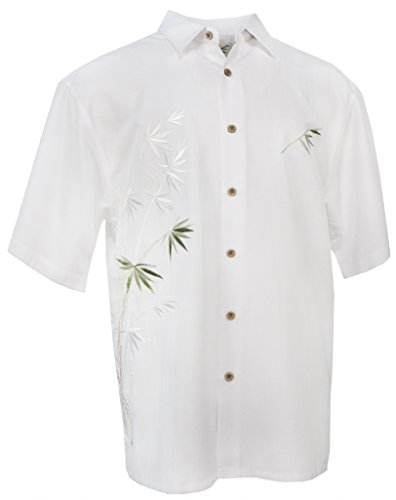 Flying Bamboo - Men's Embroidered Hawaiian Shirt - in White - Medium