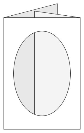 Craftcreations Pack of 5 Double Fold Medium Cards/Envelopes Oval Aperture, Linen White