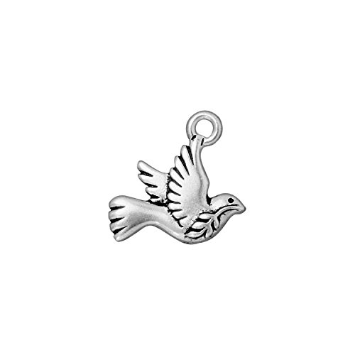 Christmas Pewter Plate - TierraCast Peace Dove, 19mm, Antiqued Fine Silver Plate Pewter, 4-Pack