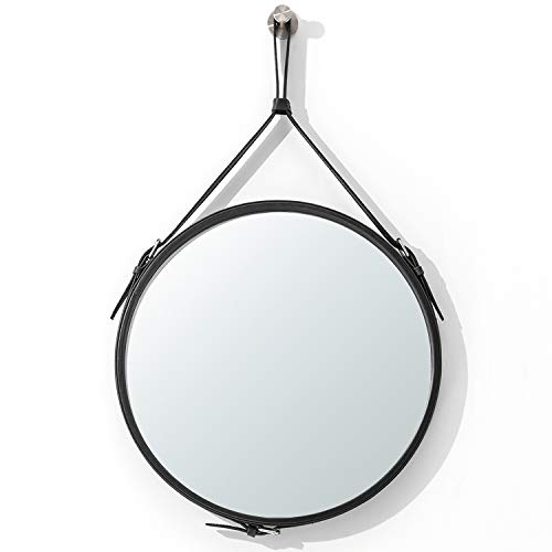 Ranslen Decorative Hanging Wall Mirror 15 Inch Round Rustic Wall Mirror with Hanging Strap for Bathroom Bedroom Living Room Home Decor Black