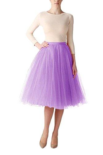Bridal_Mall Mujer Midi mullido Tüll Tutu-Rock crinolina enagua Hoopless Lilac