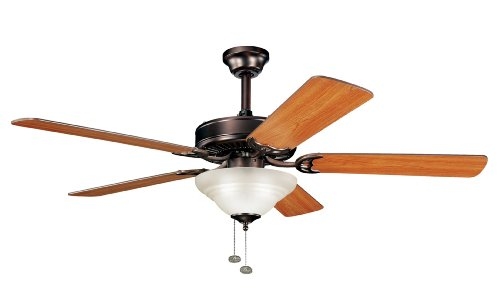 Kichler  339210OBB Sterling Manor Select 52IN Ceiling Fan, Oil Brushed Bronze Finish with Reversible Walnut/Cherry Blades and Umber-Etched Glass Light Kit ()