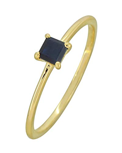 YoTreasure 0.33 Ct. Blue Sapphire Solid 10K Yellow Gold Princess Ring 10k Yellow Gold Sapphire Ring
