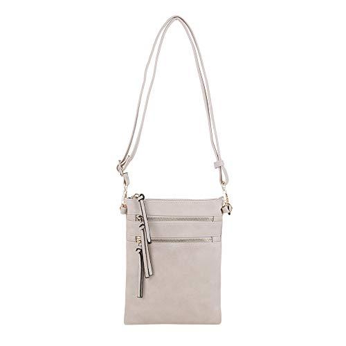 Isabelle Medium Multi-Pocket Vertical Crossbody Bag for Women (Beige)