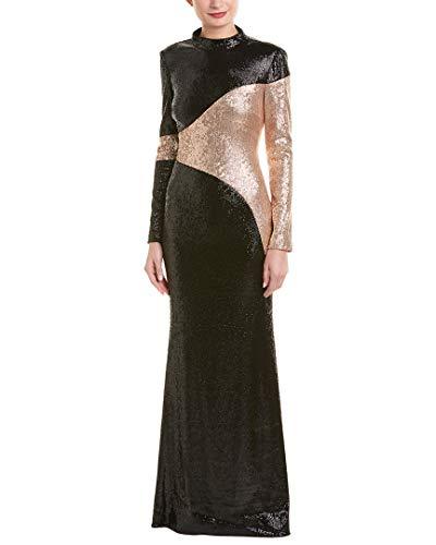 Rachel Zoe Women's Genevieve Gown, Black/Champagne 10