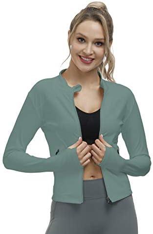Bonim Women's Slim Fit Yoga Workout Jacket Full Zip Running Track Lightweight Outerwear with Zipper Pockets S-XXL