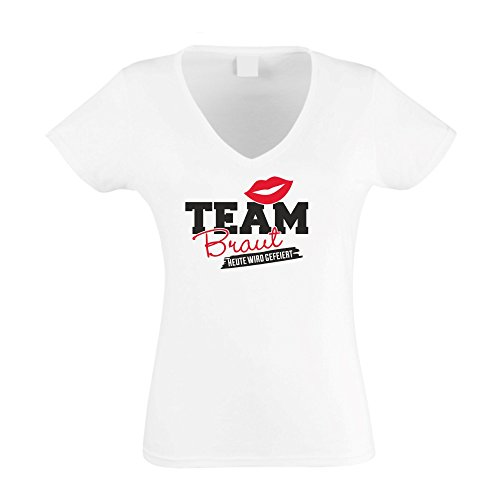 Damen T-Shirt V-Ausschnitt - TEAM BRAUT - heute wird gefeiert  Amazon.de   Bekleidung 7833526239