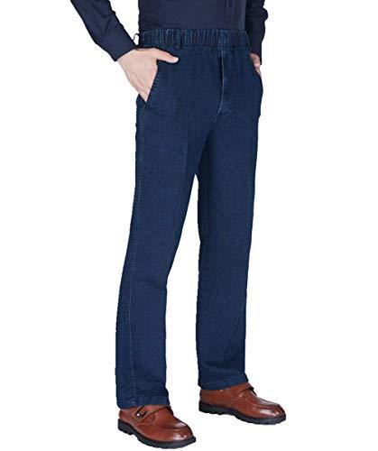 Dunkelblau Pantaloni Vintage Da Abbigliamento Uomo Bassa Elasticizzati Alta Vita Gamba Jeans Larga A AAU4O