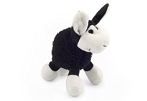 Ancol Small Bite Plush Lamb Dog Toy, 15 cm, Black, Pack of 6