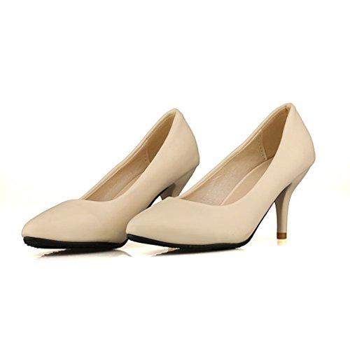 Dear Time Women Almond Toe High Heel Pumps Beige 9ixhyH8cP