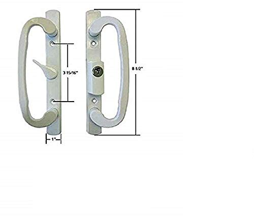 Sliding Glass Patio Door Handle Set, Mortise Type, A-Position,Center Latch Keyed, White (Patio Types Door)