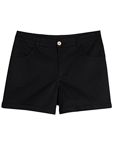 ZENTHACE Women's Juniors Mid-Rise Stretch Twill Chino Flat-Front Cuffed Shorts Black 6 ()