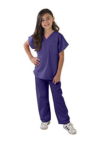Kids Scrubs Super Soft Children Scrub Set Kids Doctor Dress up (8/10, Purple)