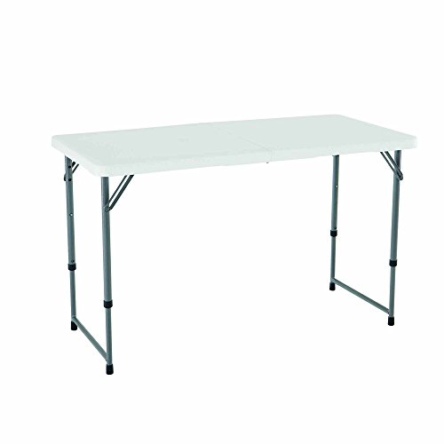 Lifetime 4428 Height Adjustable Folding Utility Table, 48 by 24 Inches, White Granite (Small Round High Table)