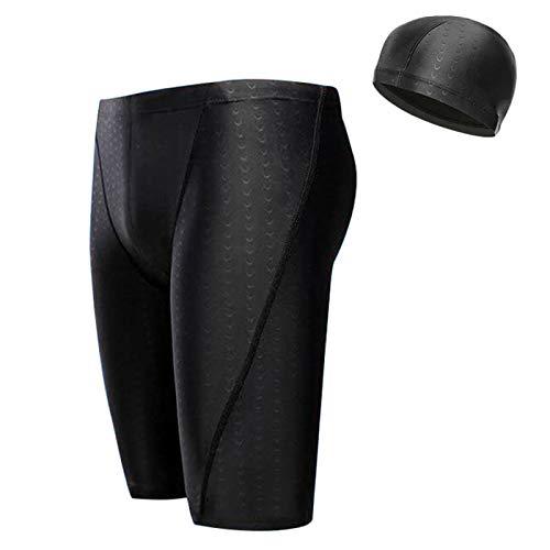 Quick Dry Bathing Suits for Men, Shark Grain Men Swim Briefs Swimsuit with Swim Cap Gift (S (28-30 inch)) Black