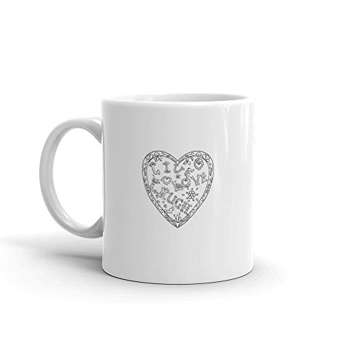 Decorative Coloring Page With Heart Shaped Frame Live Love Laugh Black And White Milk Mug 11 Oz Ceramic ()