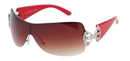 Braune femme écran Rote avec Gläser soleil pour de Bügel strass et 9007 Lunettes Rouge panoramique Schubke wqx6aa