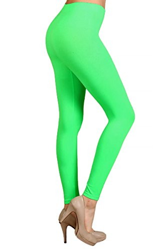 (World of Leggings Premium Basic Nylon Spandex Leggings Neon)