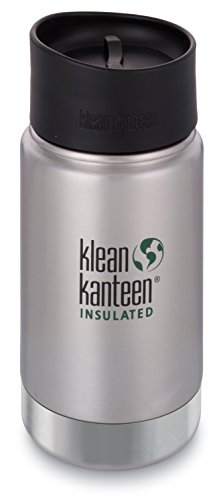 Klean Kanteen Insulated Wide Stainless Steel Coffee Mug with Café Cap 2.0, Brushed Stainless , 12 oz