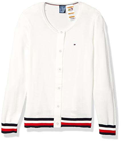 Tommy Hilfiger Women's Adaptive Cardigan with Magnetic Buttons, Snow White/Multi, Large (Tommy Hilfiger Women Cardigan)