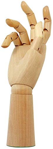 Wooden Hand Model Posable Drawing Mannequin Wood Flexible Moveable Fingers Manikin Hand Artist Figure Hand for Sketching Home Office Desk Joints Kids Children Toys Gift 10 Inch Right