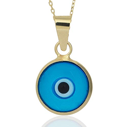 Gelin 14k Yellow Gold Evil Eye Protection Charm Chain Necklace for Women - Fine Jewelry Gift for Christmas, 18 inc