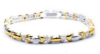 Sterling Silver Satin Finish and Gold Overlay Bracelet