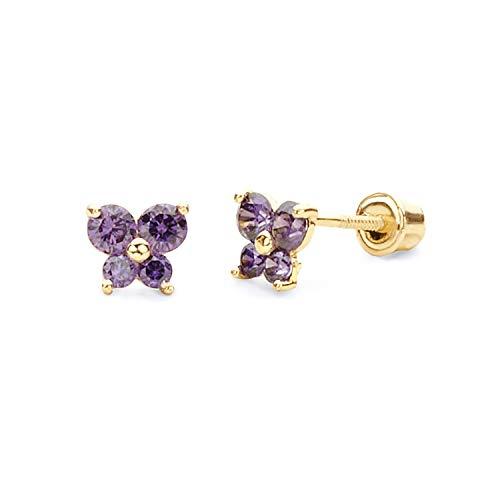 14k Yellow Gold Butterfly Stud Earrings with Screw Back, Feb