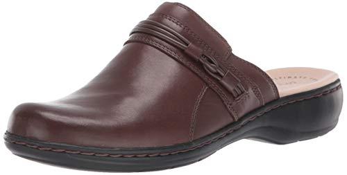 CLARKS Women's Leisa Clover Clog, Dark Brown Leather, 80 M US