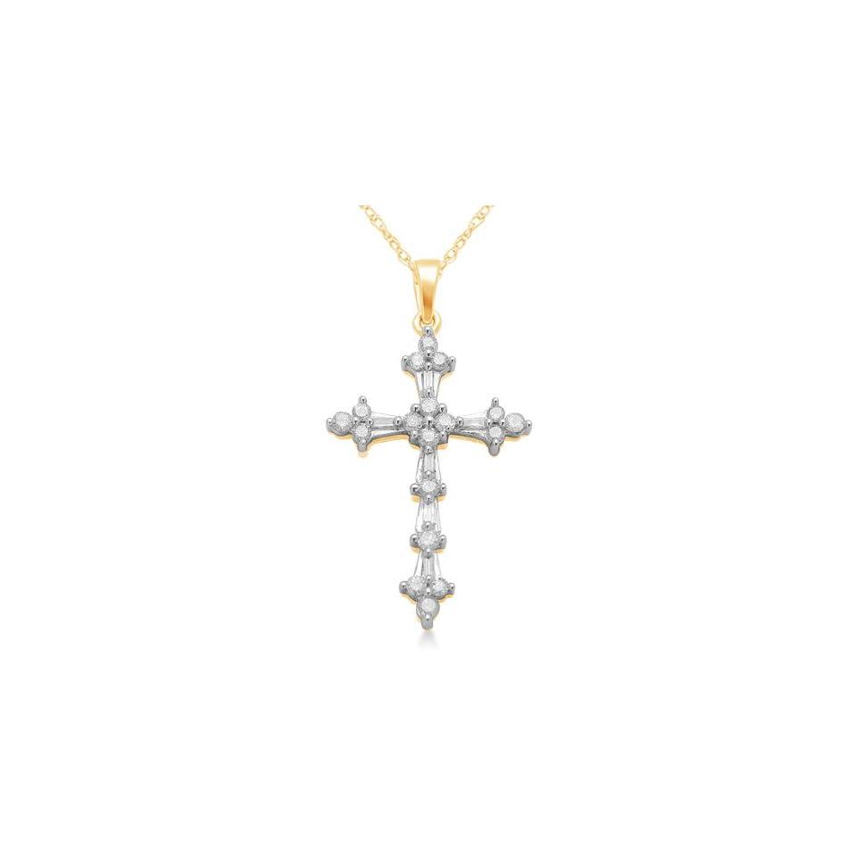 10K Yellow Gold Diamond Cross Pendant Necklace (1/2 Cttw, I J Color, I2 I3 Clarity), 18