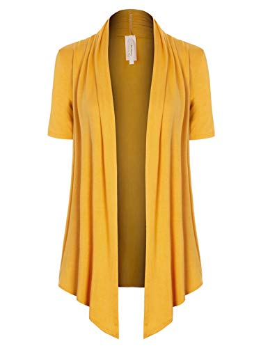 (MixMatchy Women's [Made in USA] Solid Jersey Knit Short Sleeve Open Front Draped Cardigan (S-3XL) Mustard 3XL)