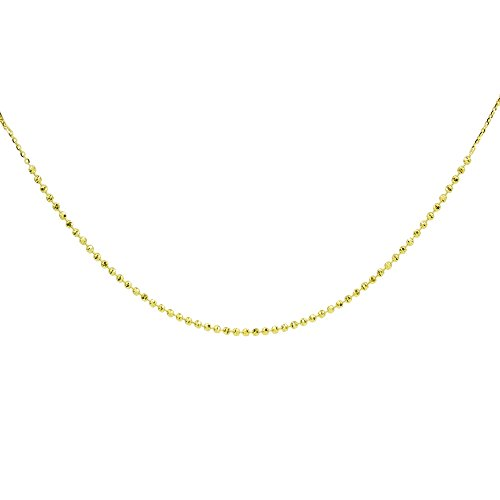 14K Yellow Gold Italian Chain Diamond-Cut Beads Dainty Choker Necklace by Hoops & Loops