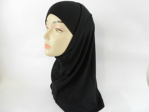 Price comparison product image Amira Value Black 2 Piece Plain Hijab Muslim Head Wear Cover Women Scarf Slip-On