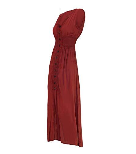 Bois Red Col Avec Longue Cccollections Boutonnière Coton Dark V En À Robe Et qvcpwFf