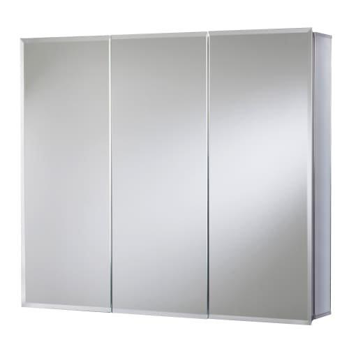 Jacuzzi PD47000 26'' H x 30'' W x 5-1/4'' D Triple Door Medicine Cabinet, Silver Aluminum by Jacuzzi