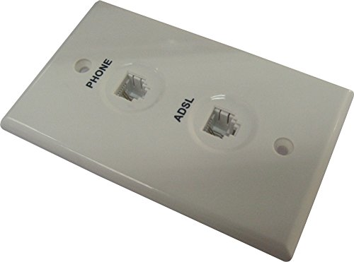 Philmore White Telephone Dual Flush Mount Wall Plate with ADSL Filter; 75-215