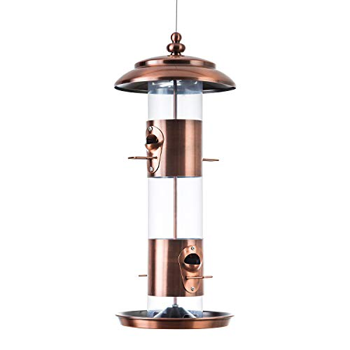 BOLITE 18009 Bird Feeder Panorama Wild Bird Feeders, Weather Proof Hanging Tube Feeder, 3 lbs, Copper