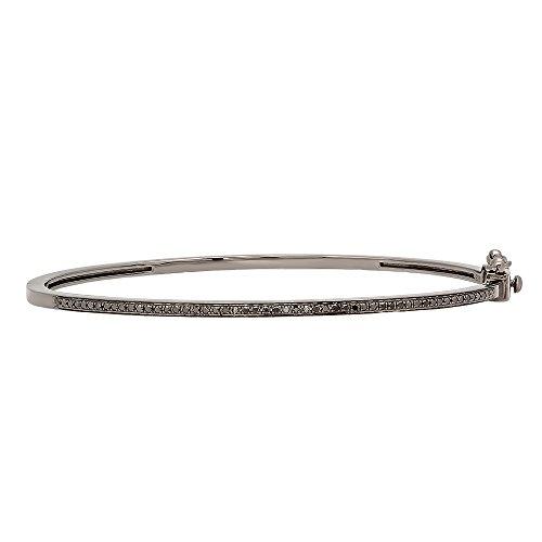 0.25 Carat (ctw) Black Rhodium Plated Sterling Silver Round Cut Black Diamond Ladies Bracelet 1/4 CT