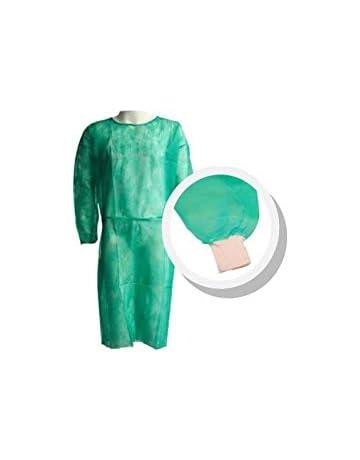 Pack 10 Ud. Bata protección médica desechable. Verde. Con mangas y puño de