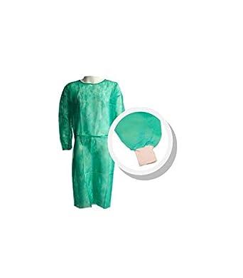 Pack 10 Ud. Bata protección médica desechable. Verde. Con mangas y puño de algodón: Amazon.es: Industria, empresas y ciencia
