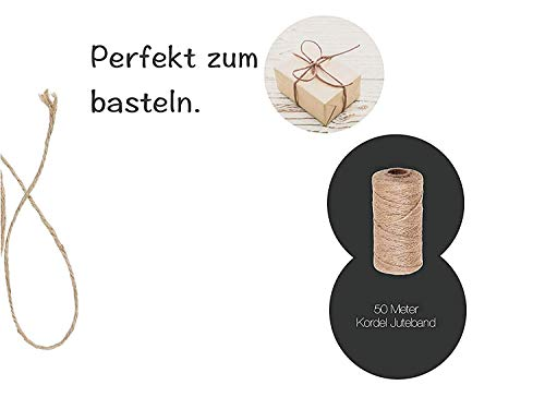 2x 50 Meter Juteband Schnur Bastelschnur Kordel Band Dekokordel Spitzeband Sisalseil braun Naturband 2x St/ück