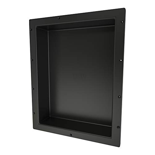 Redi Niche single Recessed Shower Shelf – Black, One Inner Shelf, 16-Inch Width x 20-Inch Height x 4-Inch Depth