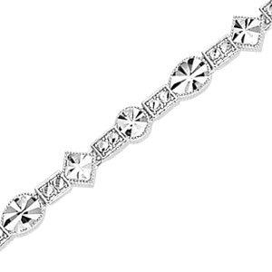 14K White Gold Diamond Cut Metal Mold Geometric Bracelet
