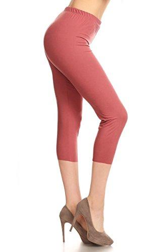 Leggings Depot Buttery Soft Basic Solid 36+ Colors Women's Capri Leggings (Plus Size (Size 12-24), Wild Ginger)