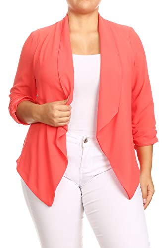 Clothing Cropped Kimono - Solid Casual Plus Size Loose Fit Draped Cardigan Blazer Jacket/Made in USA Coral 2XL