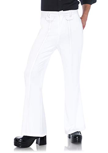 Leg Avenue Men's Bell Bottom Disco 70s Pants, White, MED/LGE -